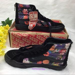 NWT Vans SK8-Hi Slim Zip Galaxy Floral Black